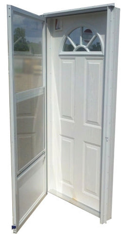 "Elixir Industries Fan Window Vinyl Steel Combo Door with Storm Door R/H L/H 4"" Jamb 9000 Series"