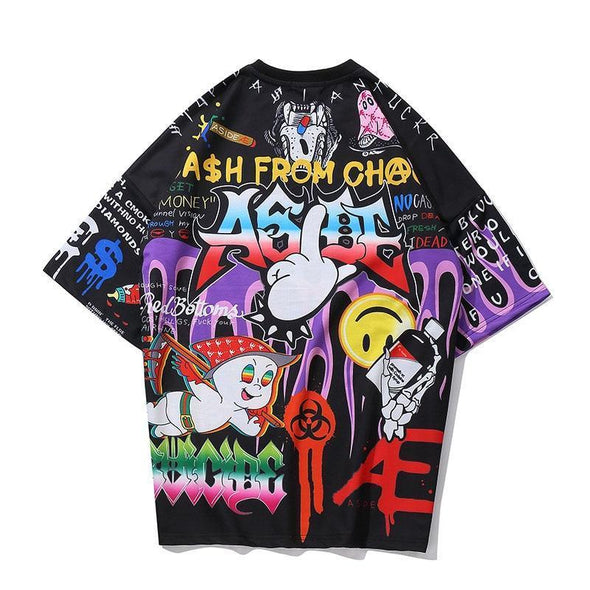 Cartoon Graffiti T-Shirt-streetwear-techwear-street-style-mens-womens-fashion
