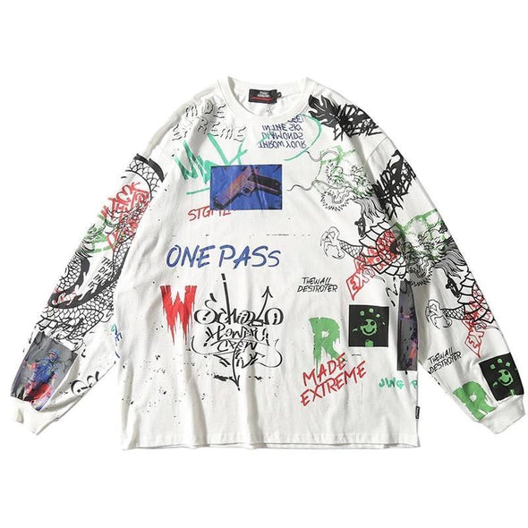 Graffiti Long Sleeve T-Shirt-streetwear-techwear
