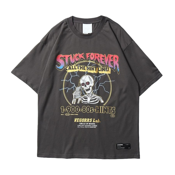 Stuck Forever Skeleton T-Shirt-streetwear-techwear-street-style-mens-womens-fashion