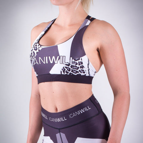 Leo Sport Bra - Grey/White