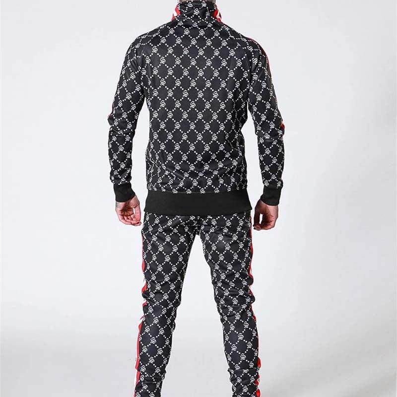 Gyms Long Sleeve Stripe Training Tracksuit For Men, 2pcs / set, Hoodie & Pants