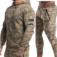 Hooded Running Set Camo Tracksuit For Men Camo Sweatshirt & Sweatpants