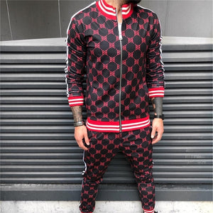 Casual Active Zipper Outwear Jacket+Pants Tracksuit Sets For Men