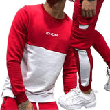 Men's Splice Tracksuit: Long Sleeve top + Striped Sweatpants