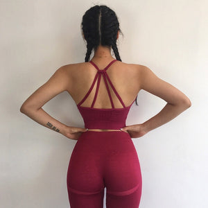 Hollow Women Yoga Sets Gym Elastic Tracksuit Sports Bra+Pants