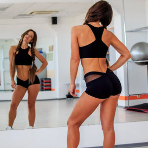 Pro Bodybuilding Short Shorts for Women, Black Mesh Styled Waistline