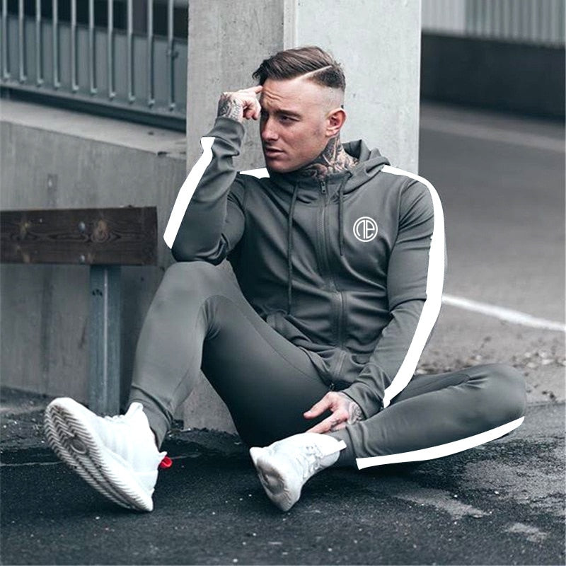Men's tracksuit casual men's suit men's Bodybuilding leisure suit