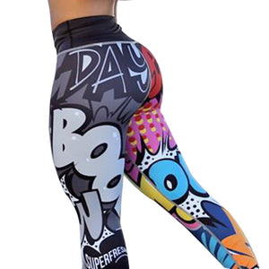Letter Printed Women Sport Leggings High  Push Up Yoga Pants