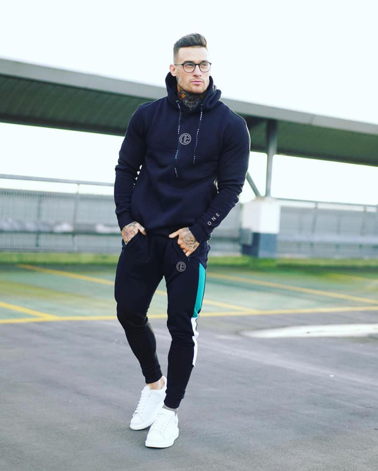 Men's Tracksuits 2 piece, Hooded Sweatshirts + Cotton Drawstring Pants For Men