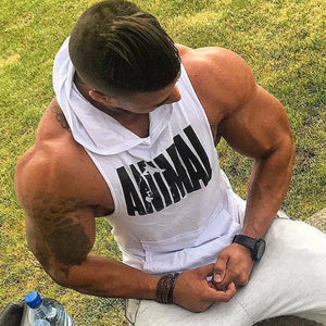 Bodybuilding Cotton Tank top, Gyms Fitness Hooded Vest Sleeveless Hoodie
