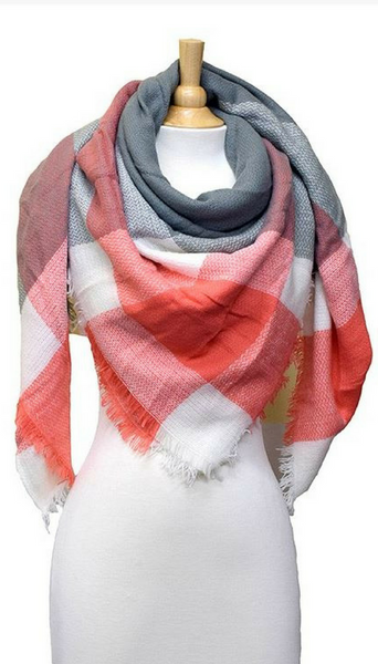 Coral + Grey Plaid Blanket Scarf