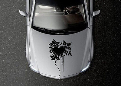 CAR HOOD VINYL DECAL ART STICKER GRAPHICS FLORAL PATTERN HEART DESIGN OS581