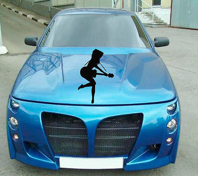 Car Hood Vinyl Decal Graphics Stickers Art Mural Girl Dancing with Guitar KJ693