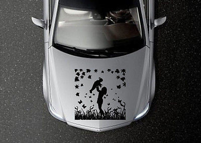 CAR HOOD VINYL DECAL ART STICKER GRAPHICS MOTHER WITH CHILDREN OS580
