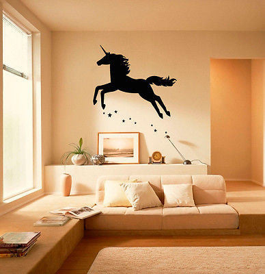 Wall Vinyl Decals Sticker Room Animals Fairy Unicorn with Stars Flying KJ2560