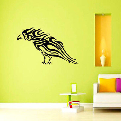 Wall Mural Vinyl Decal Sticker Room Birds Tribal Crow Decor KJ049