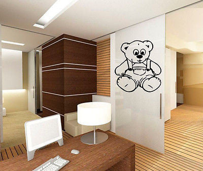Wall Vinyl Decals Sticker Nursery Room Cartoon Animal Nice Teddy Bear Toy KJ2849