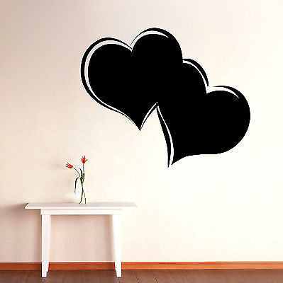 Wall Mural Vinyl Decal Sticker Room Two Hearts Interior Decor KJ164