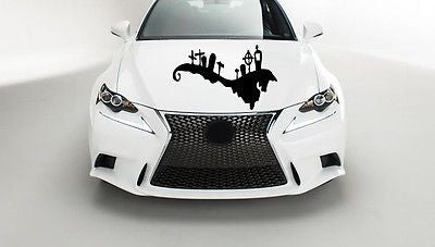 Car Hood Vinyl Decal Graphics Stickers Holiday Halloween Party Cemetery AB1247