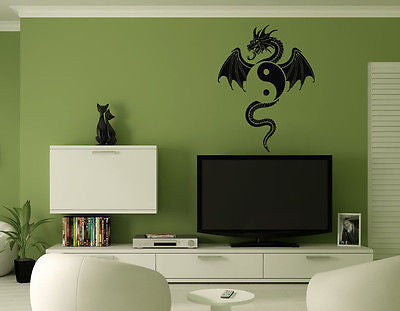 Wall Mural Vinyl Decal Sticker Dragon Yin Yang AL369