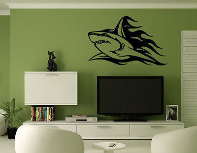 Wall Mural Vinyl Decal Sticker Decor Art Tattoo Tribal Shark Flames AL165