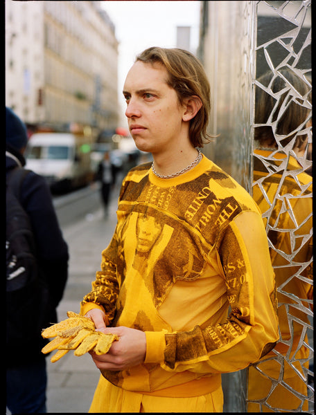 The Community - Maria Korkeila Unisex Sweater with Print Applications in Yellow
