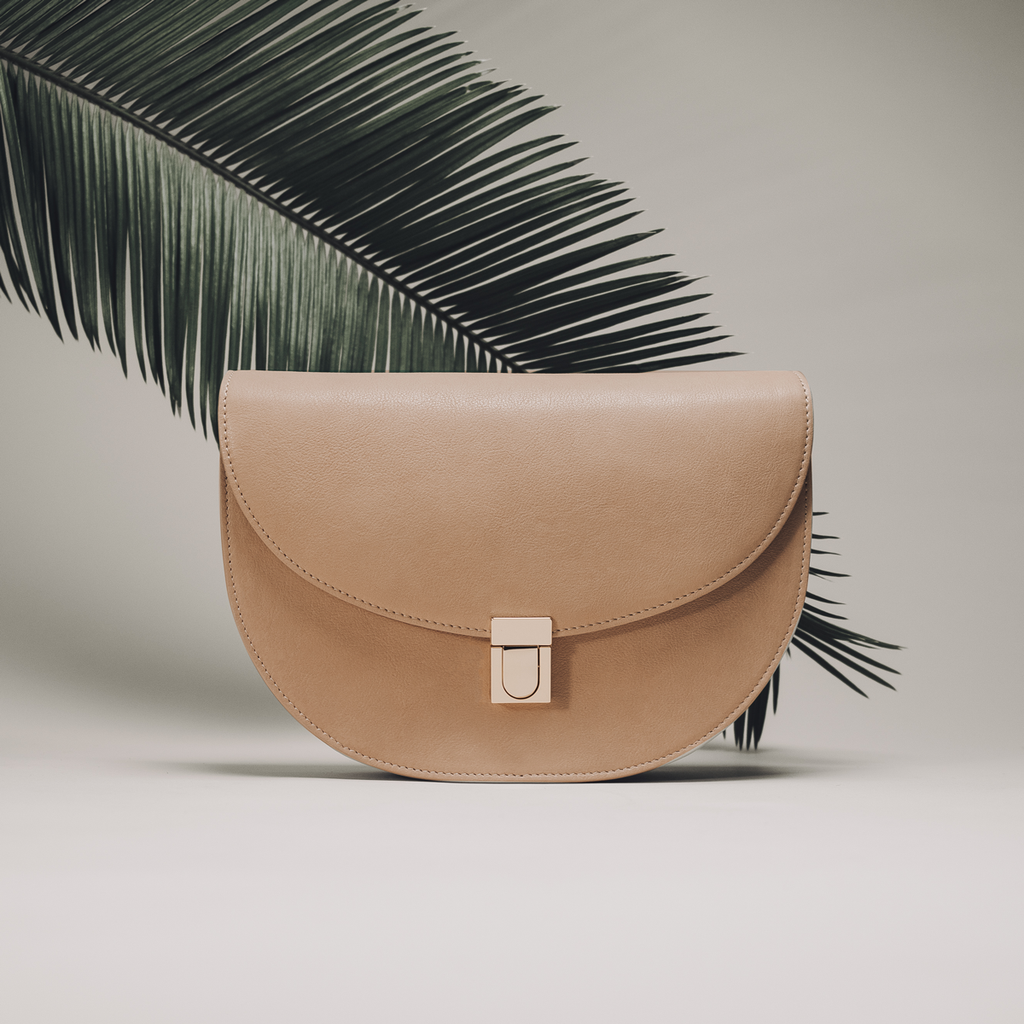 Sand Leather Half moon shaped cross-body bag