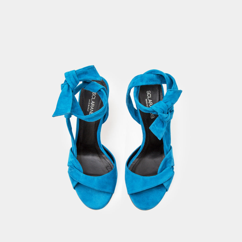 Azure suede ankle tie Sandal with a block heel