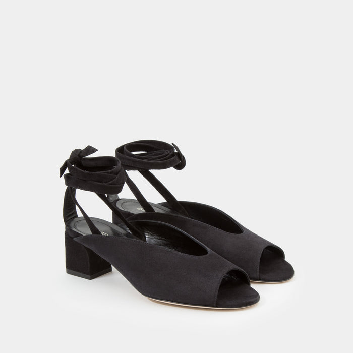 Black suede peep toe mule with an ankle tie wrap block heel