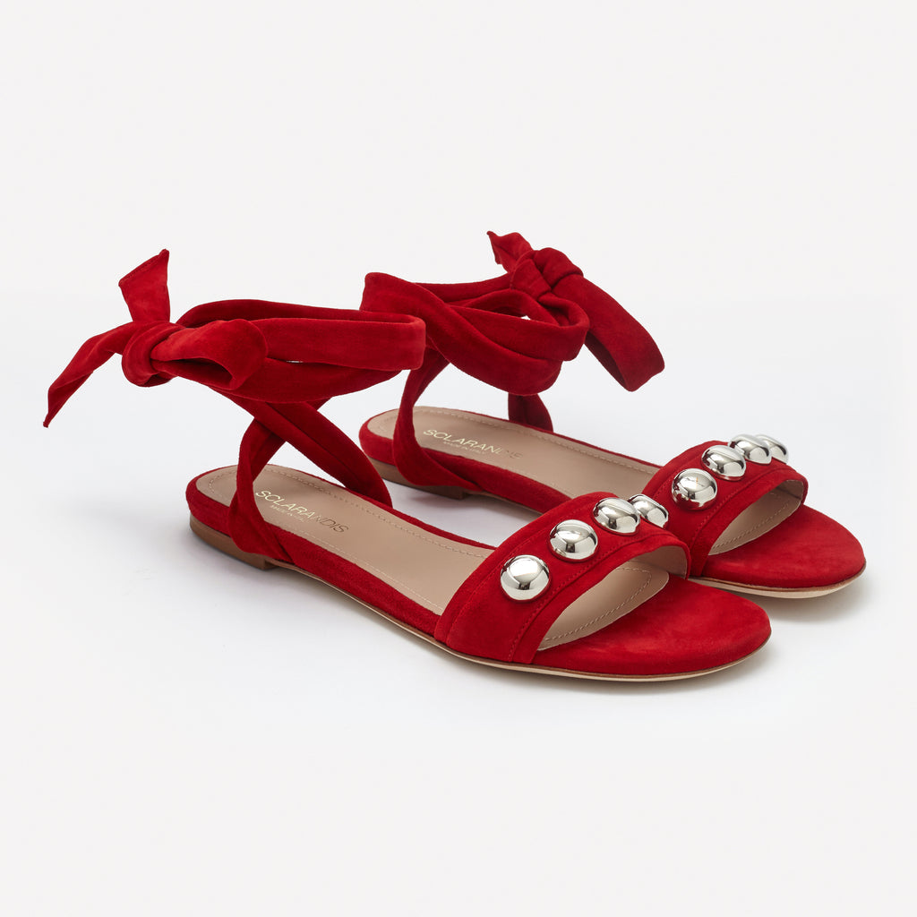 Red Suede Silver studded single band ankle-tie flat sandal