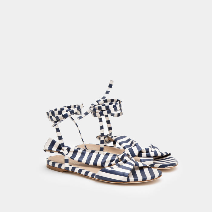 Striped Navy Knotted nappa flat sandal with an ankle tie wrap