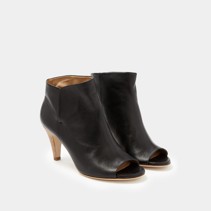 Sclarandis Luxury Handmade Alessa Peep Toe Boot in Black Nappa - Italian Leather - Crafted in Italy