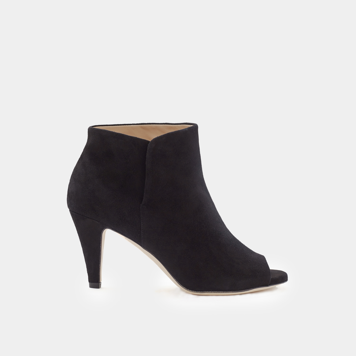 Sclarandis Luxury Handmade Alessa Peep Toe Boot in Black Suede - Italian Leather - Crafted in Italy
