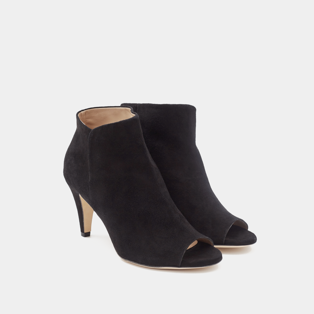 Alessa Black Suede Peep Toe Boot