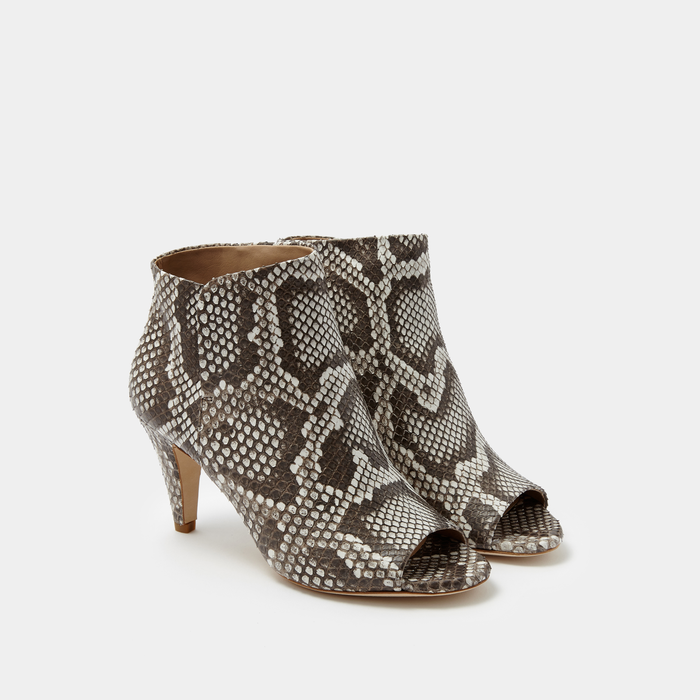 Sclarandis Alessa Peep Toe Boot black and White Python