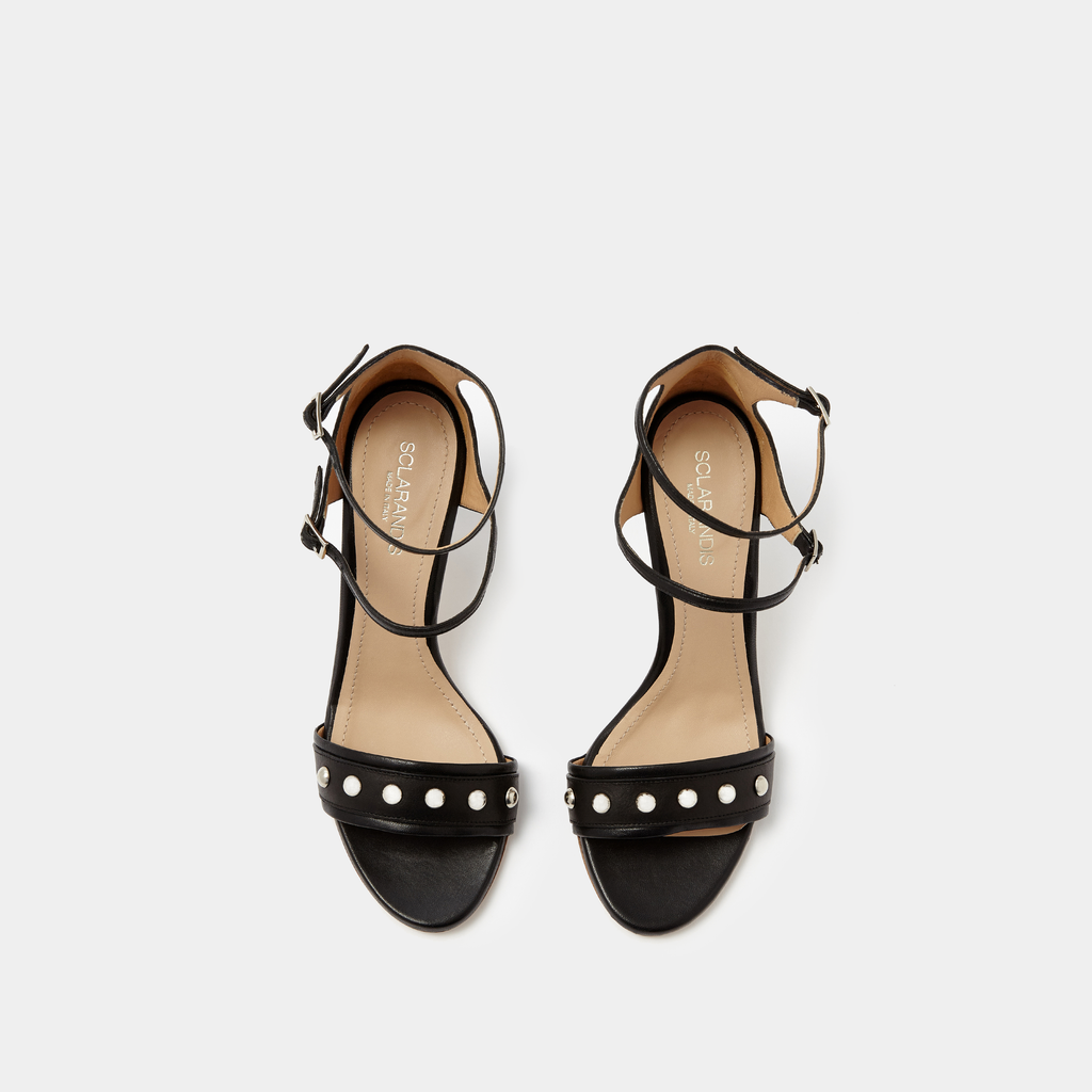 Allegra Black Leather sandal with silver studs