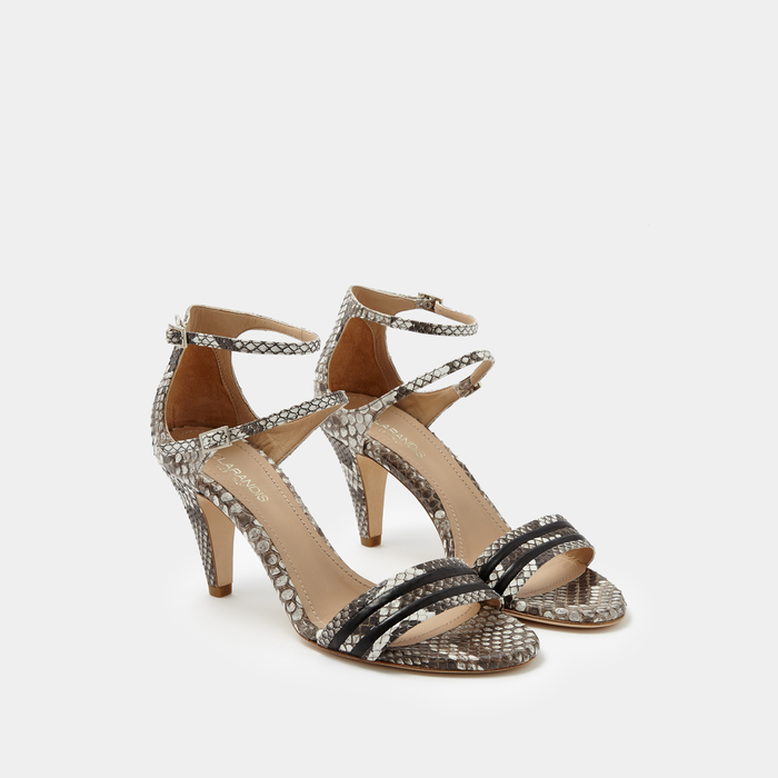 Allegra Black and White Python Sandal