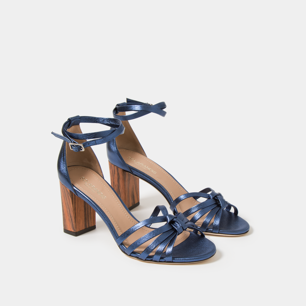 Sclarandis Anita Sandal Metallic Blue leather with Block heel
