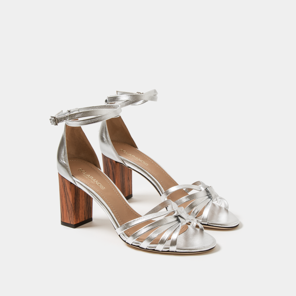 Sclarandis Anita Sandal Crinkled Silver Leather with block heel
