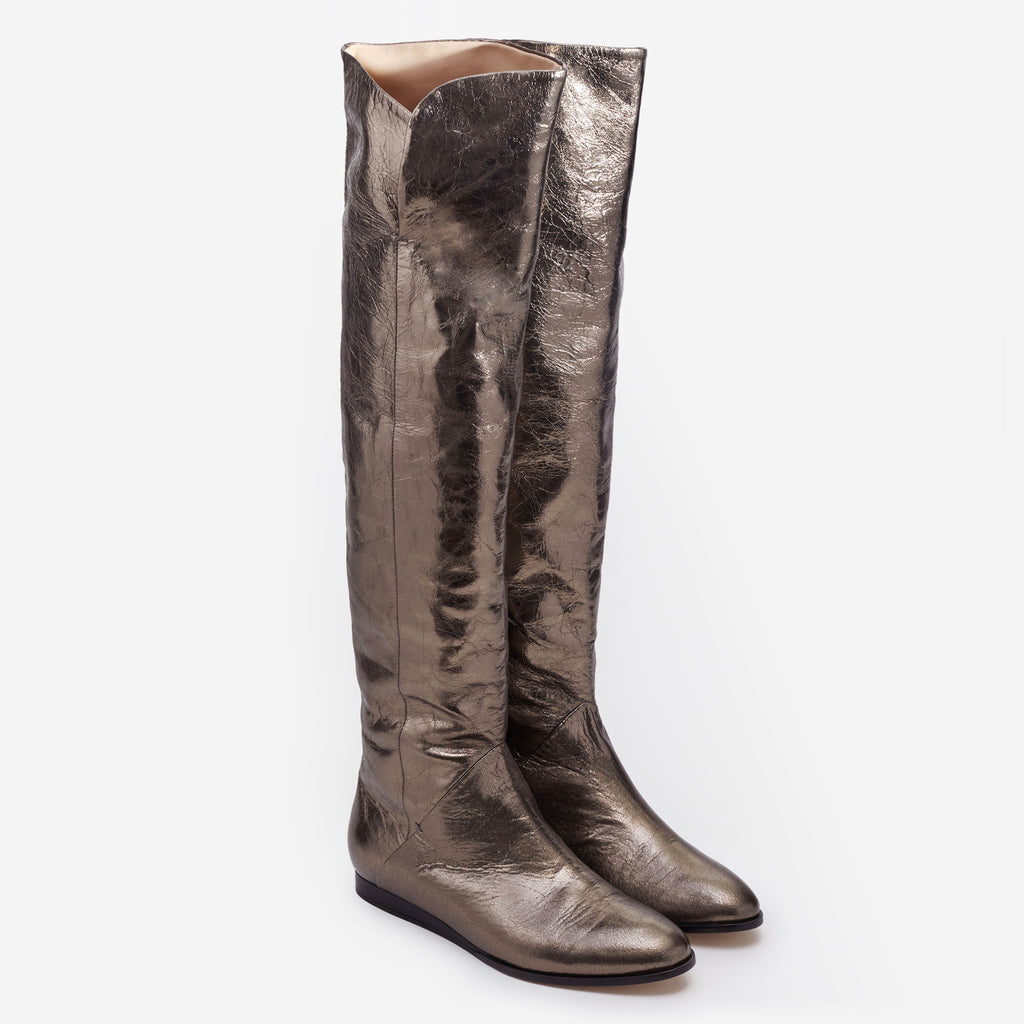Sclarandis - Anna Over the Knee Boot - Crinkled Old Bronze - Isometric View