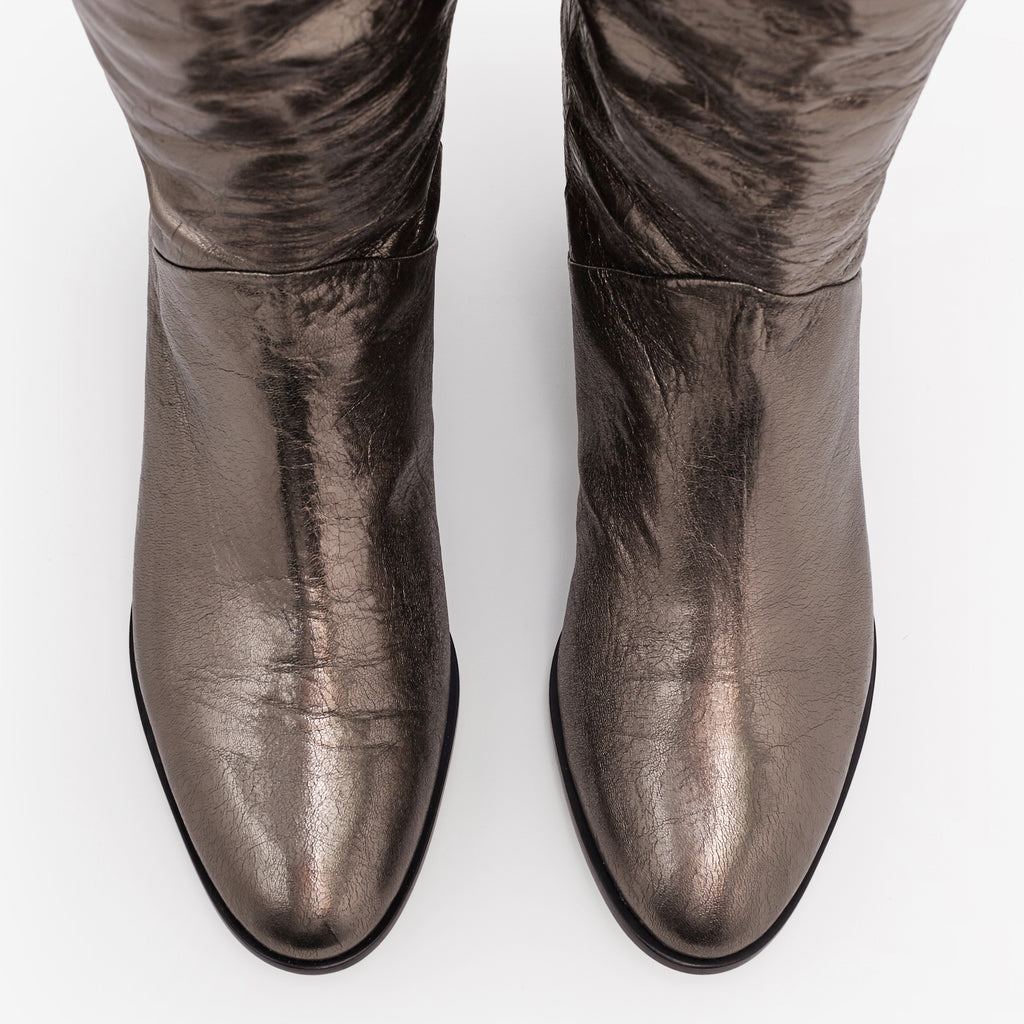 Sclarandis - Anna Over the Knee Boot - Crinkled Old Bronze - Top View