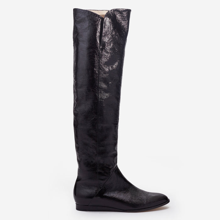 Sclarandis - Anna Over the Knee Boot - Black Crinkle Patent - Side View
