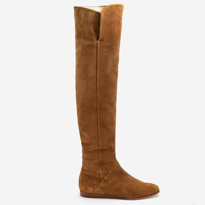 Sclarandis - Anna Over The Knee Boot - Tan Suede - Side View
