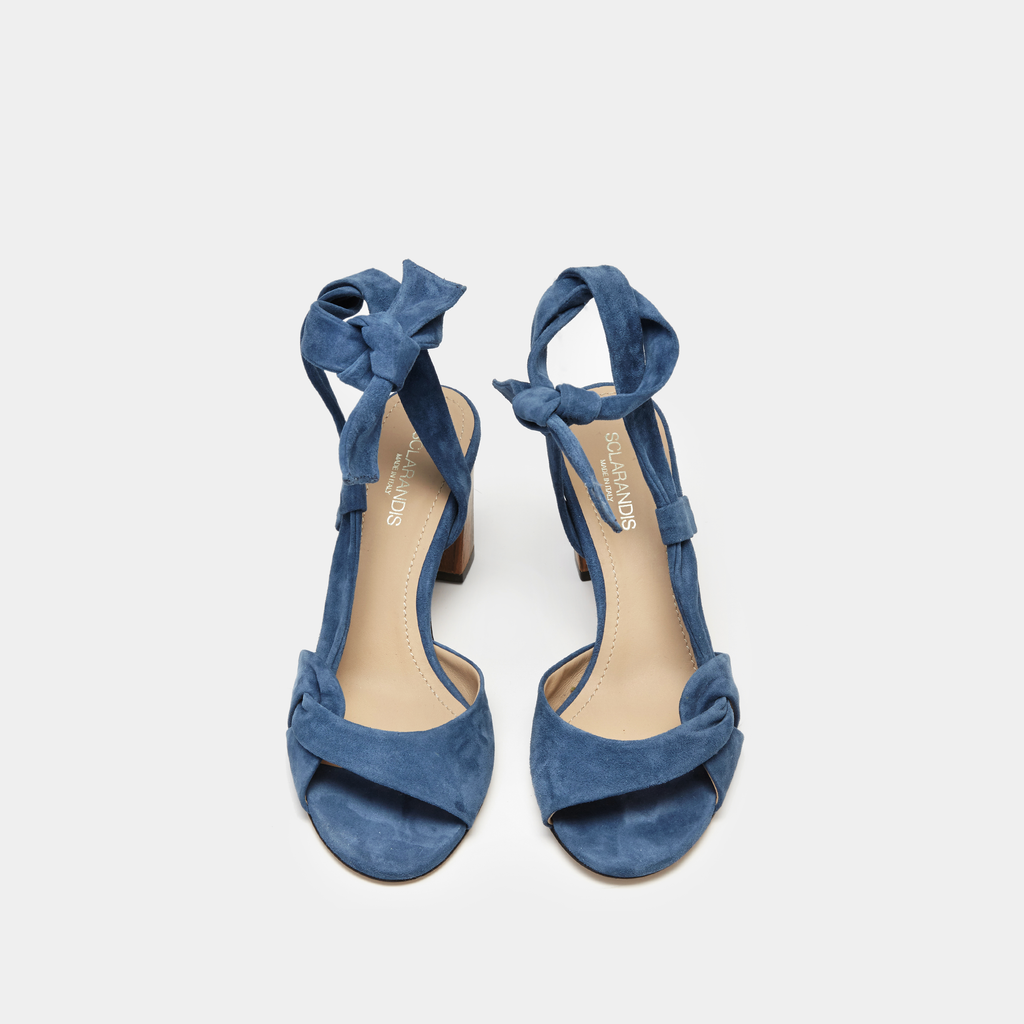 Sclarandis Ravello Blue Denim Suede sandal with a Block heel