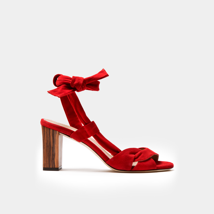 Sclarandis Ravello Red suede Sandal with a block heel
