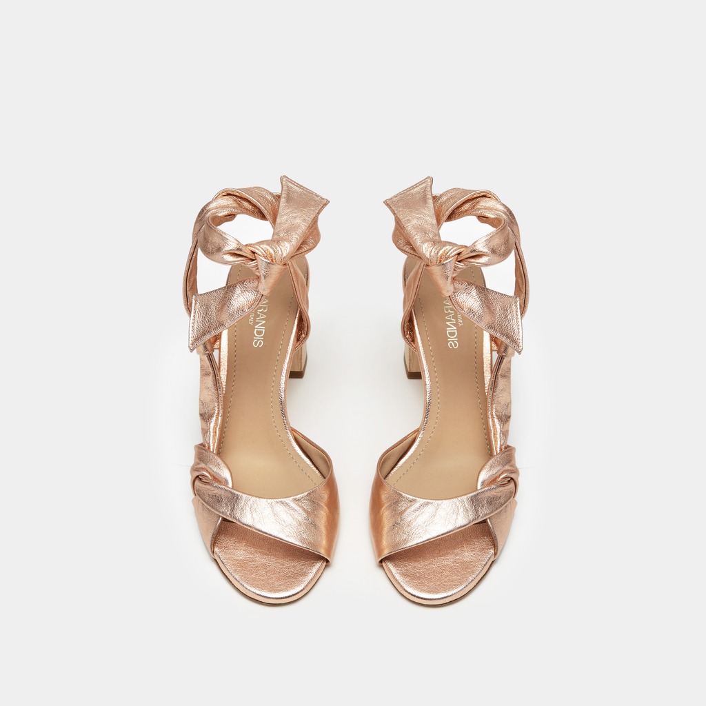 Sclarandis Ravello Rose Gold Sandal with a block heel