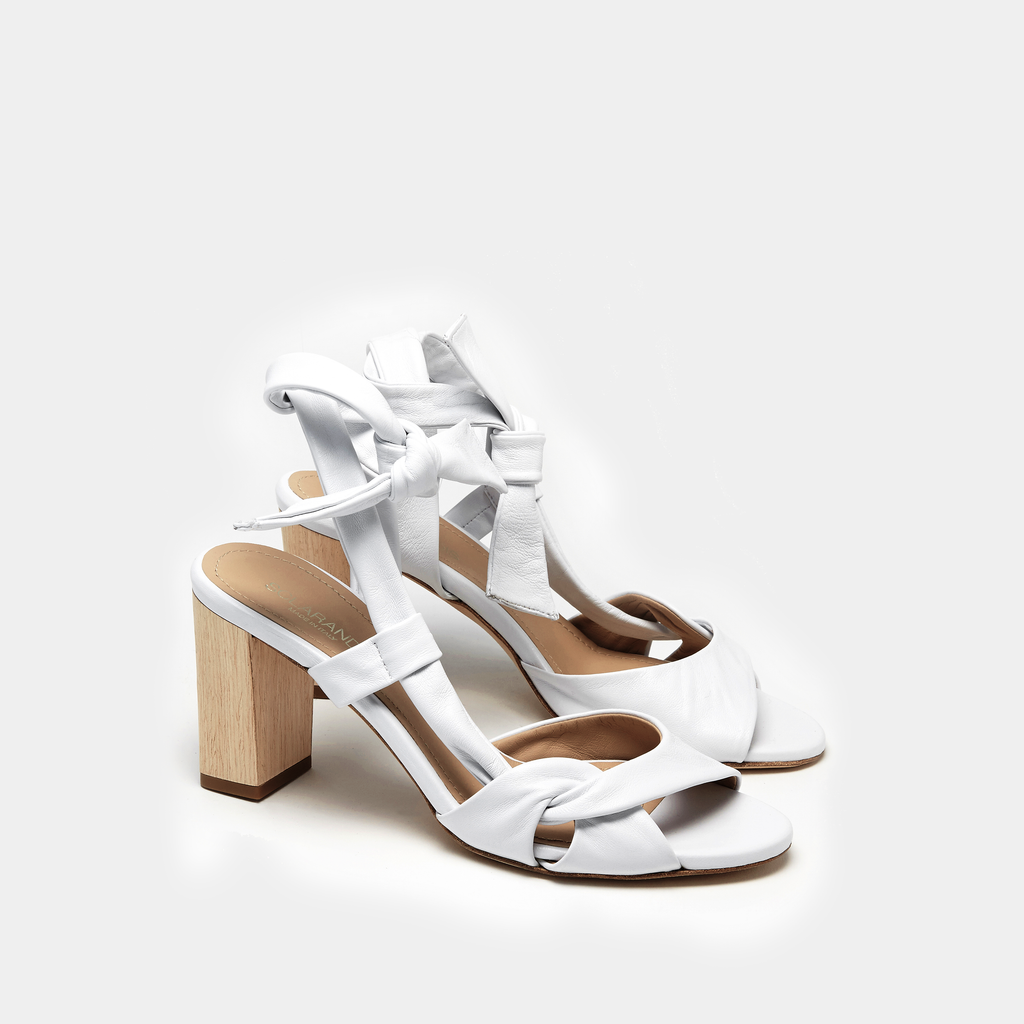 Sclarandis Ravello White Nappa Sandal with a block heel