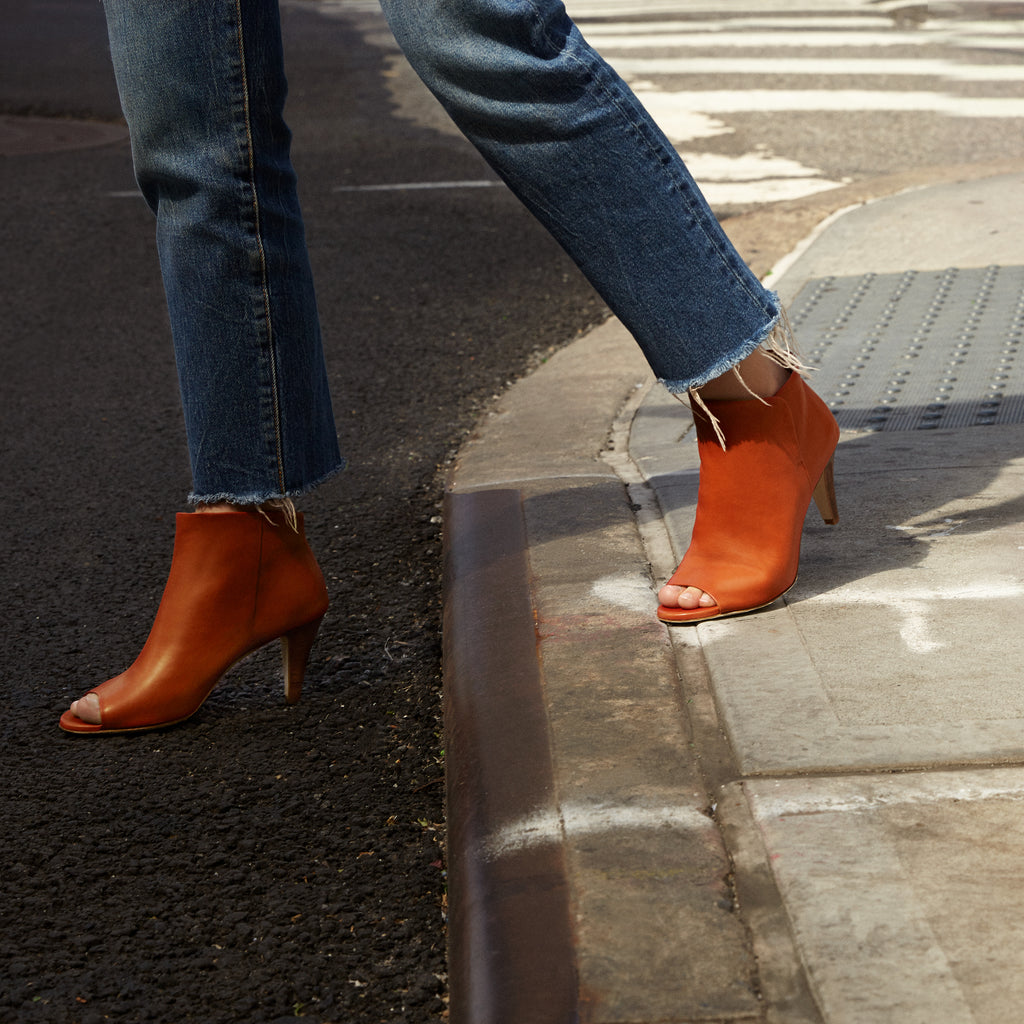 Sclarandis - Alessa Peep Toe Boot - Rust Calf Leather - Editorial