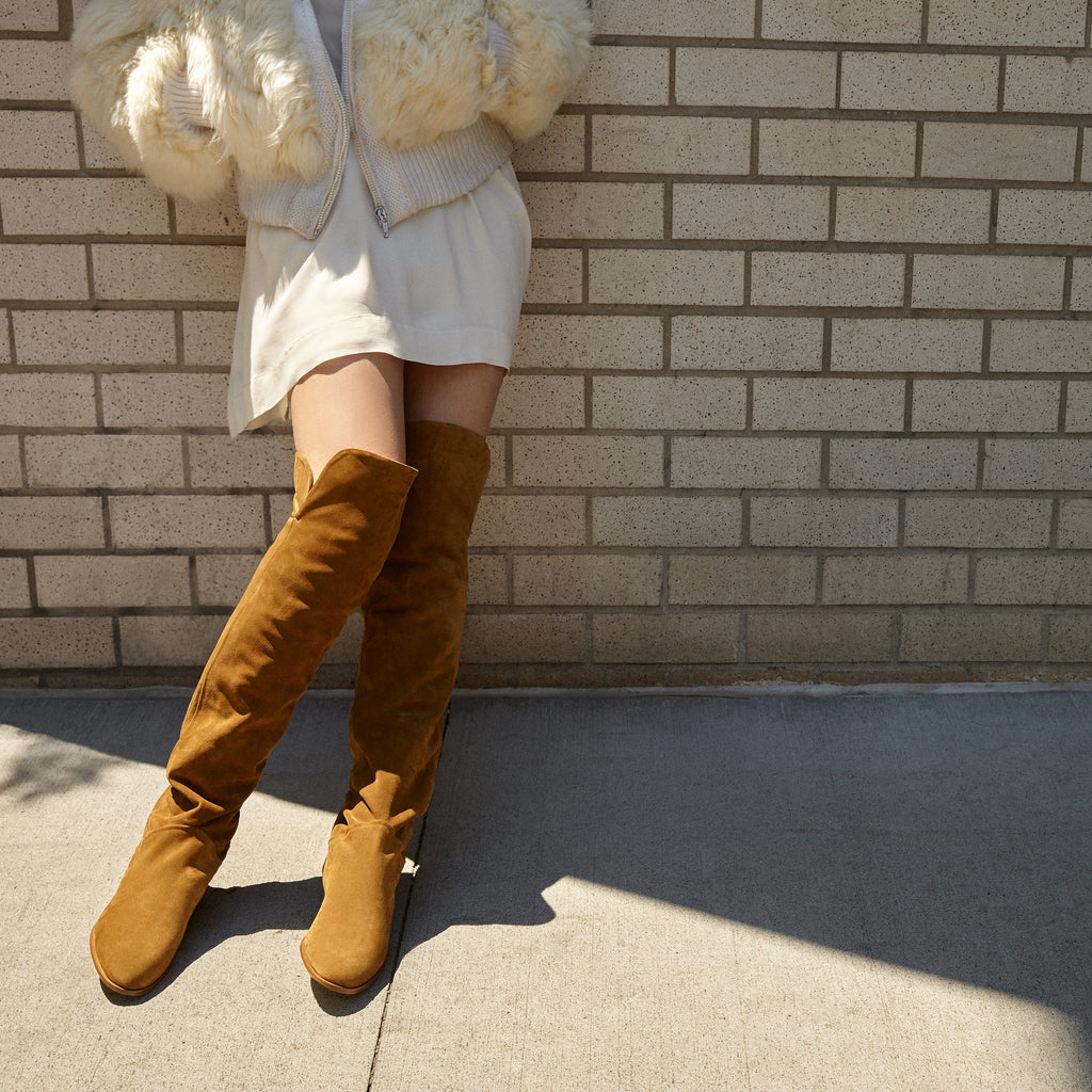 Sclarandis - Anna Over The Knee Boot - Tan Suede - Editorial
